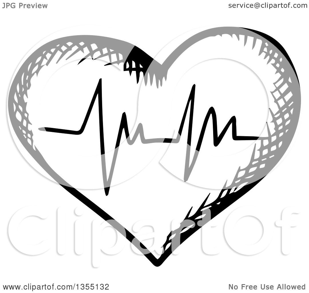 Clipart Of A Black And White Sketched Ecg Graph Heart