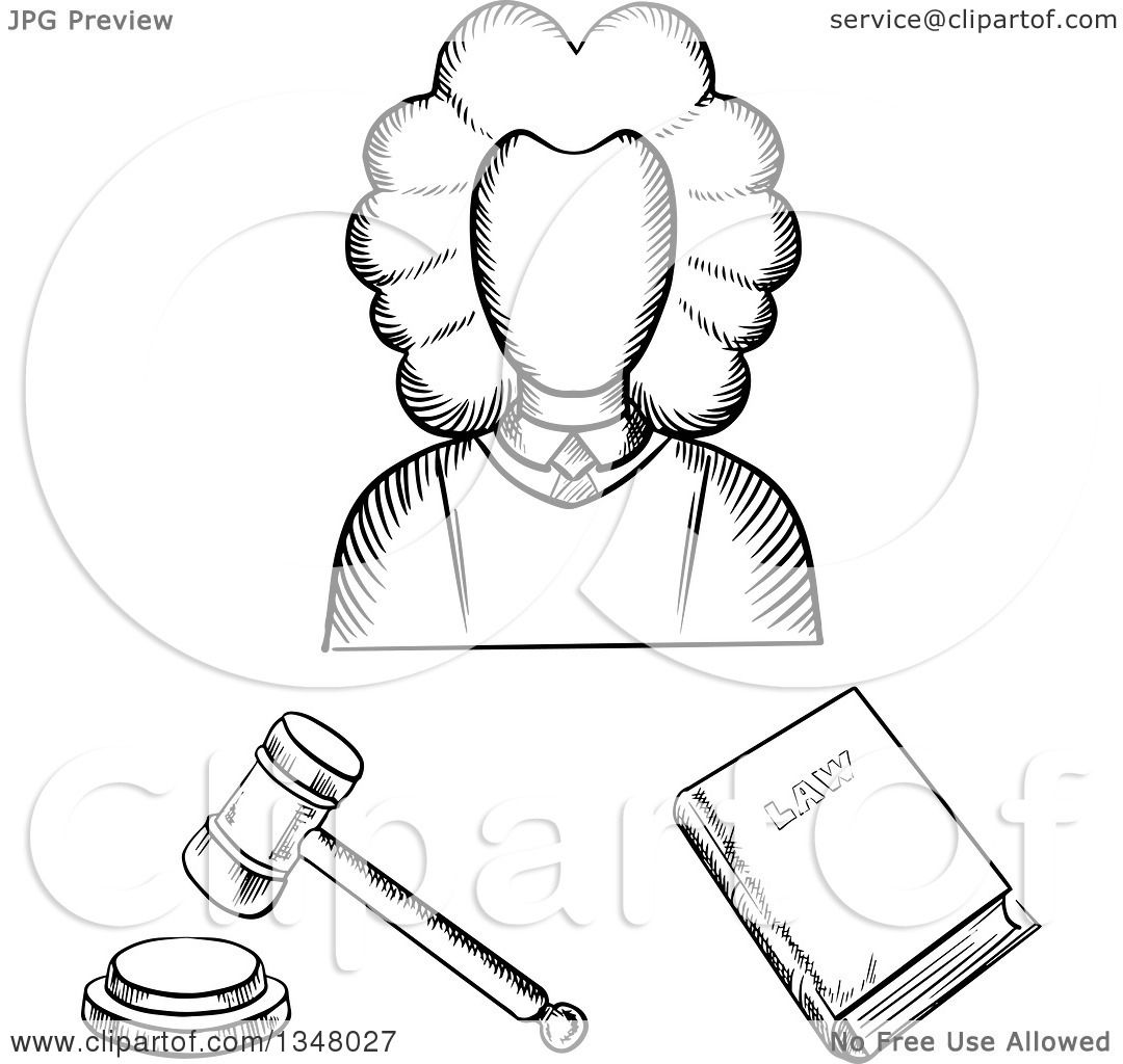 Judge And Gavel Coloring Page Sketch Coloring Page