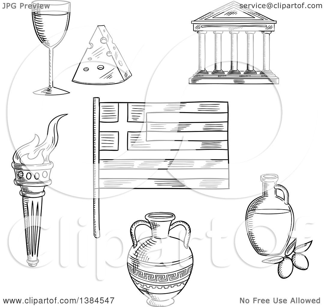 Clipart Of A Black And White Sketched Greek Flag