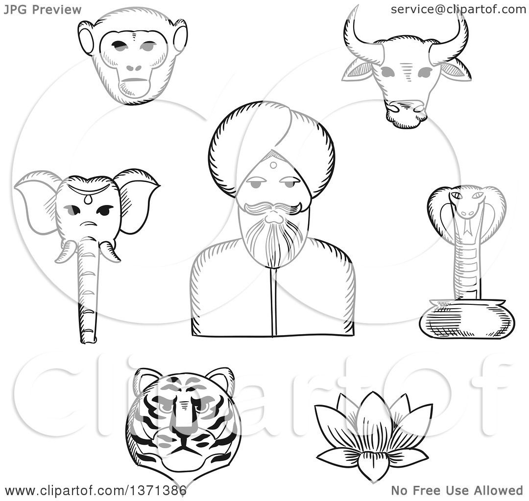 Clipart Of A Black And White Sketched Indian Man In Turban