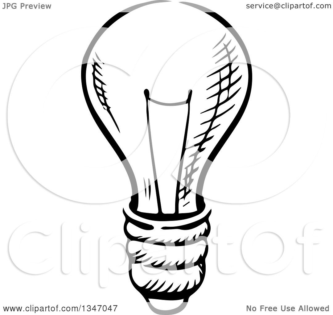 Clipart Of A Black And White Sketched Light Bulb