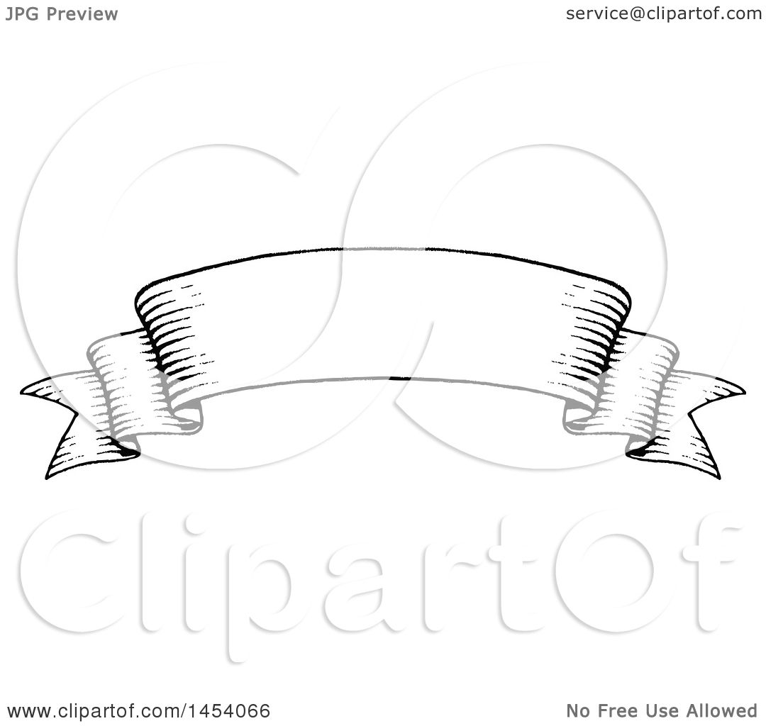 Clipart Of A Black And White Sketched Parchment Ribbon