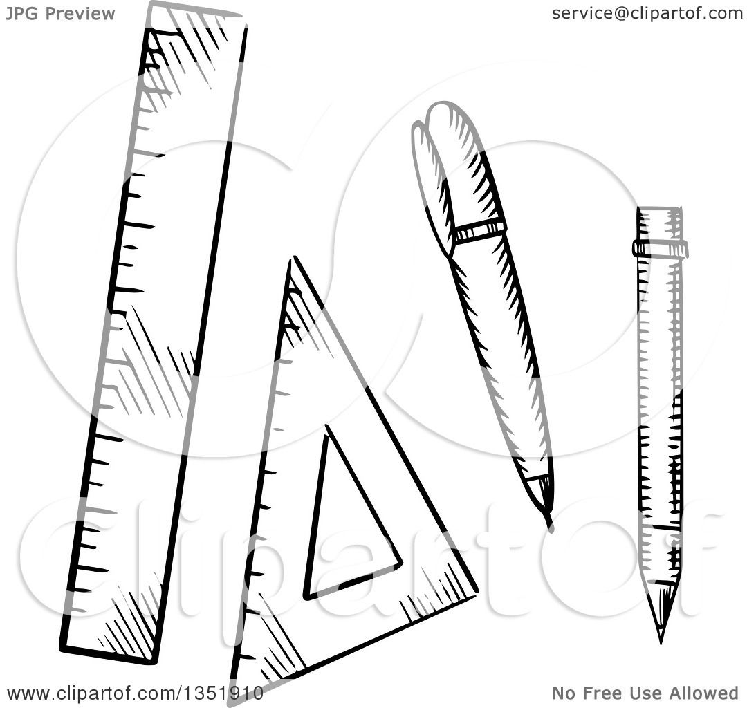 Clipart Of A Black And White Sketched Pencil Ballpoint