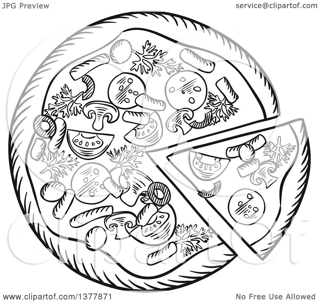 Clipart Of A Black And White Sketched Pizza