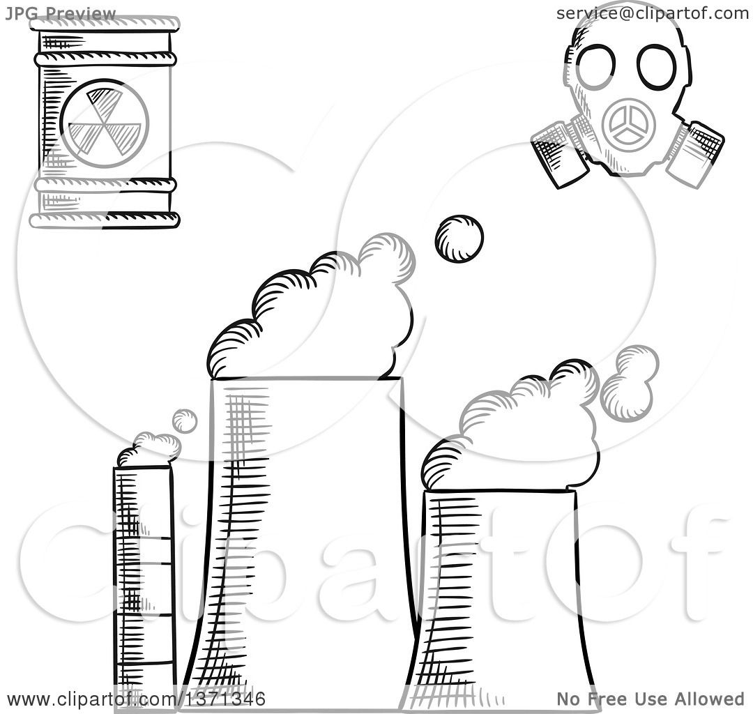 Clipart Of A Black And White Sketched Power Plant