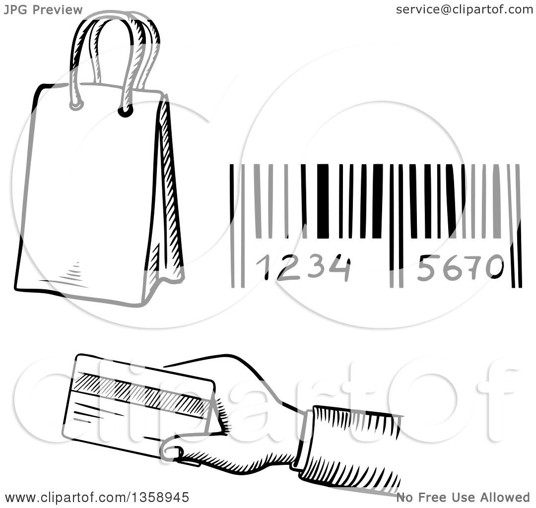 Clipart Of A Black And White Sketched Shopping Bag Bar