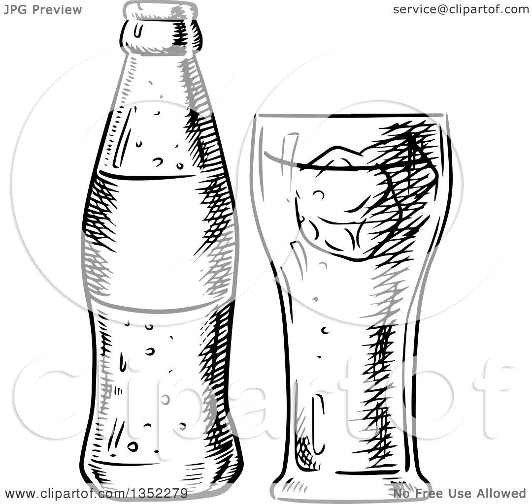 Clipart Of A Black And White Sketched Soda And Glass