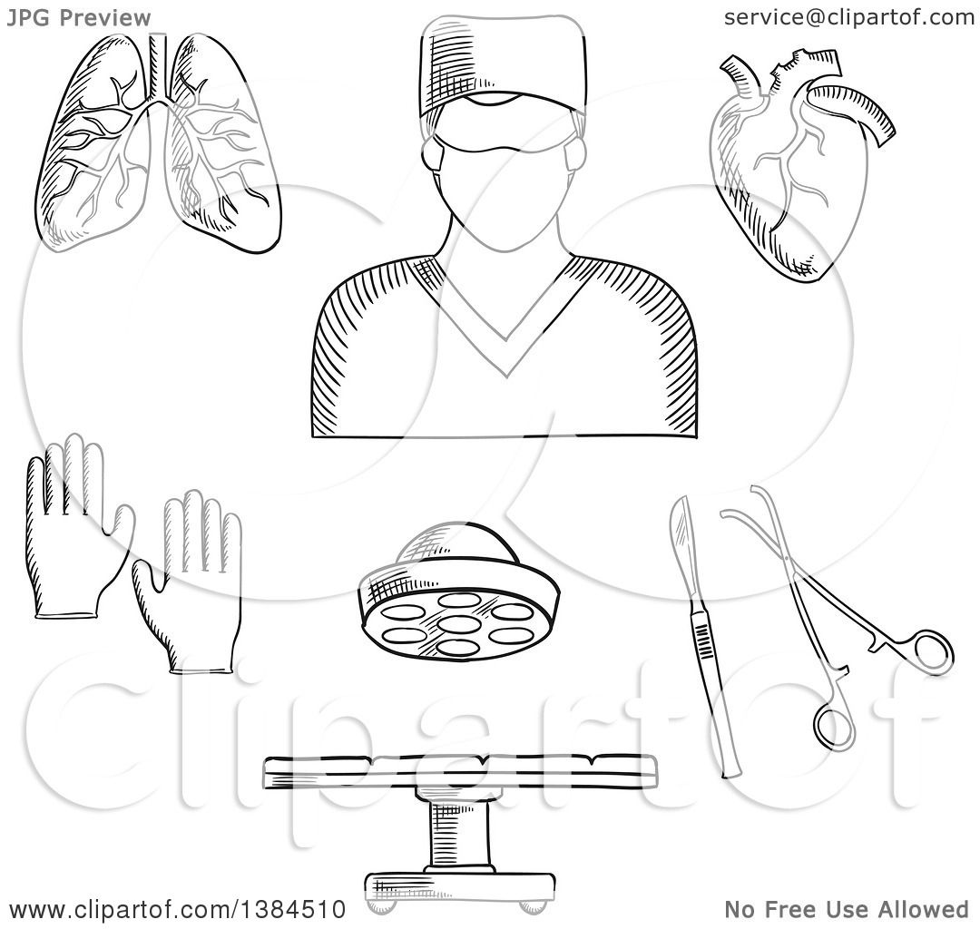 Clipart Of A Black And White Sketched Surgeon Doctor