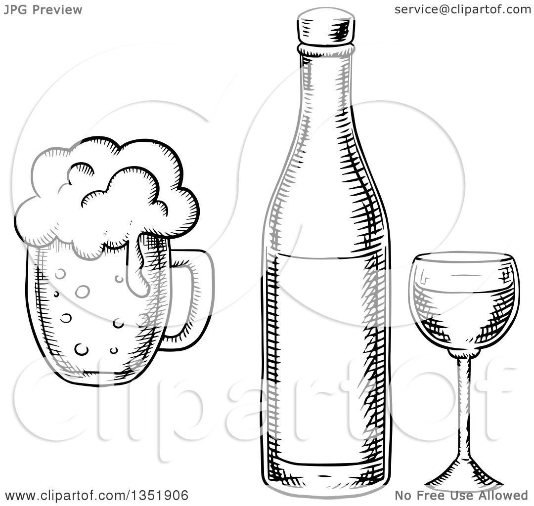 Clipart Of A Black And White Sketched Wine Glass Bottle