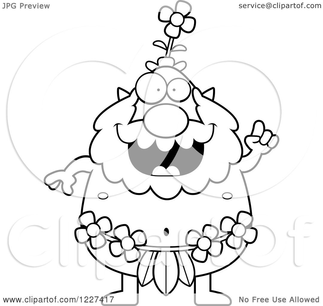Clipart Of A Black And White Smart Male Forest Sprite With