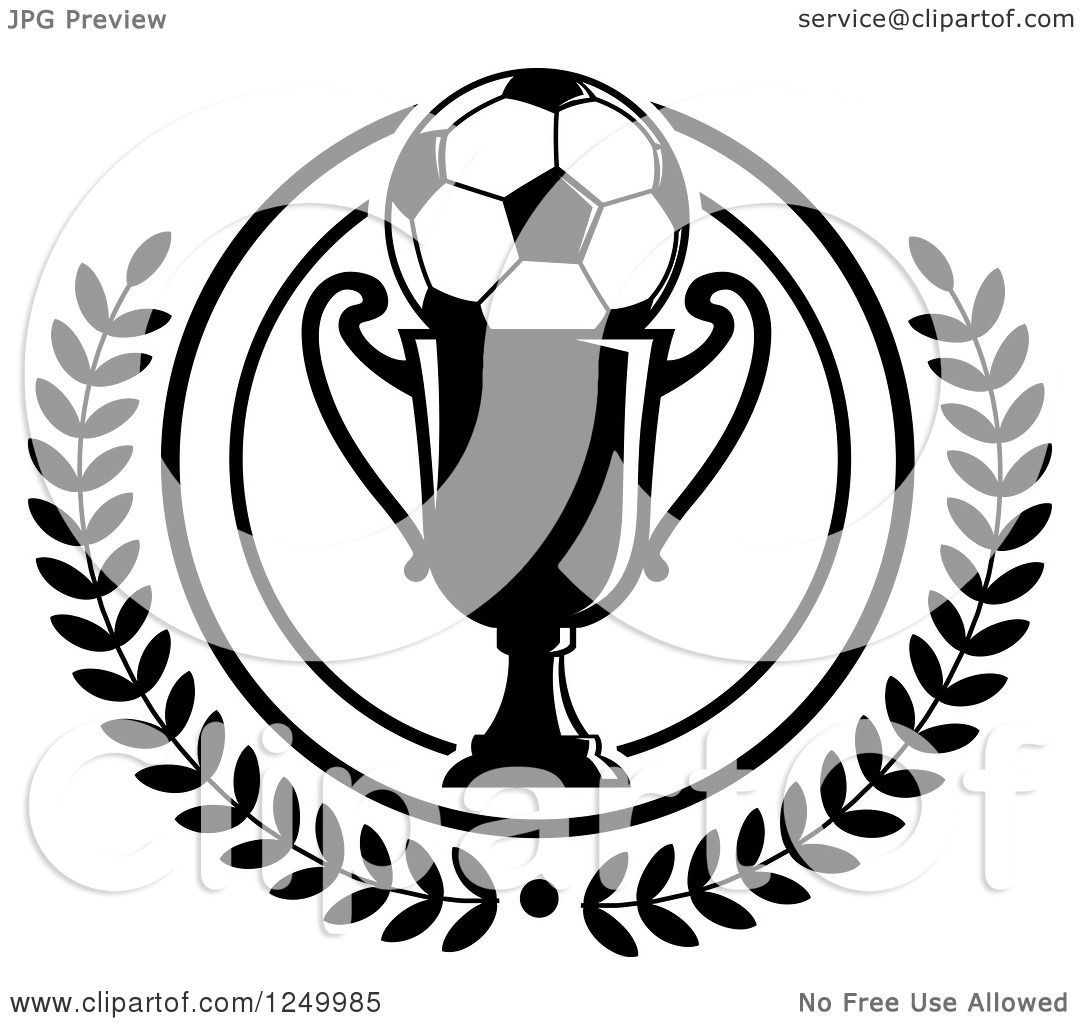 Clipart Of A Black And White Soccer Ball On A Trophy Cup