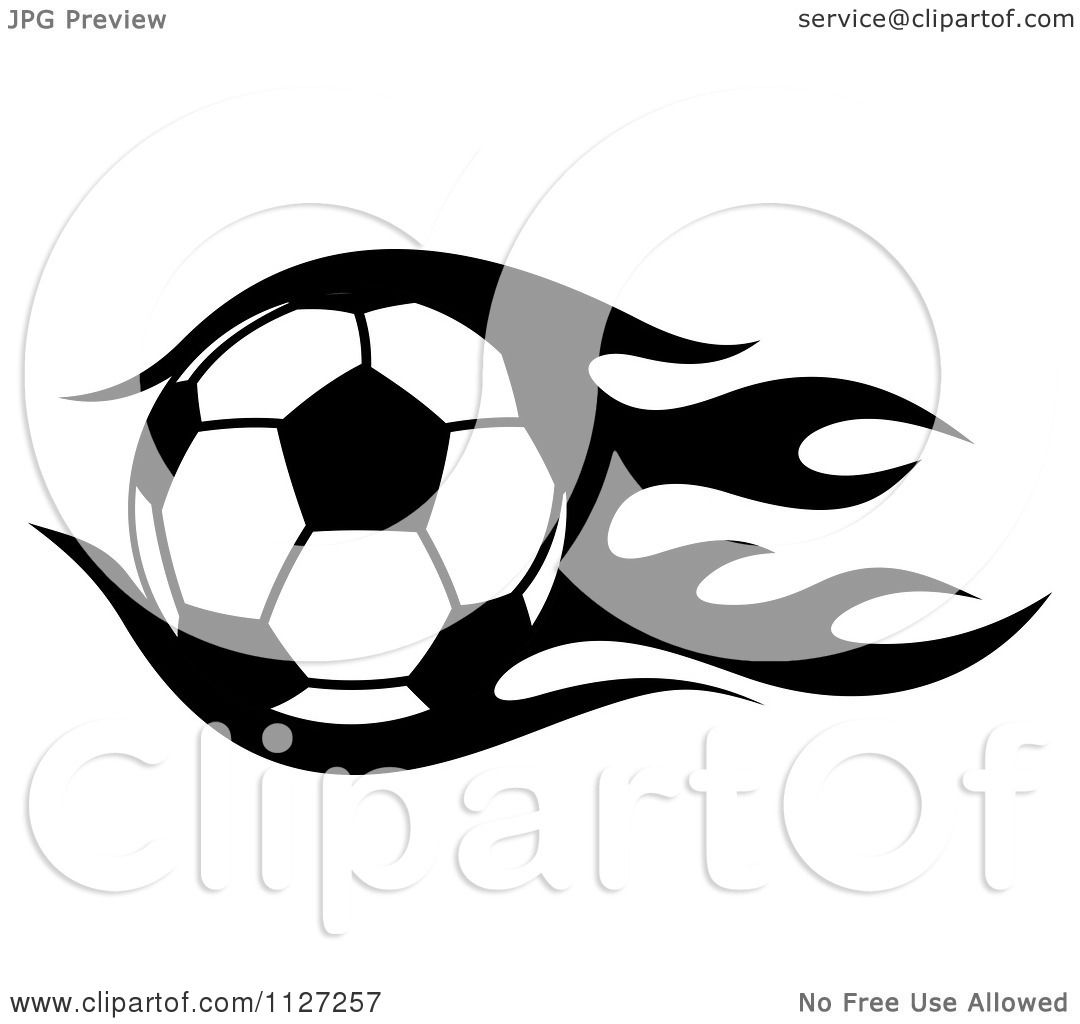 Clipart Of A Black And White Soccer Ball With Tribal