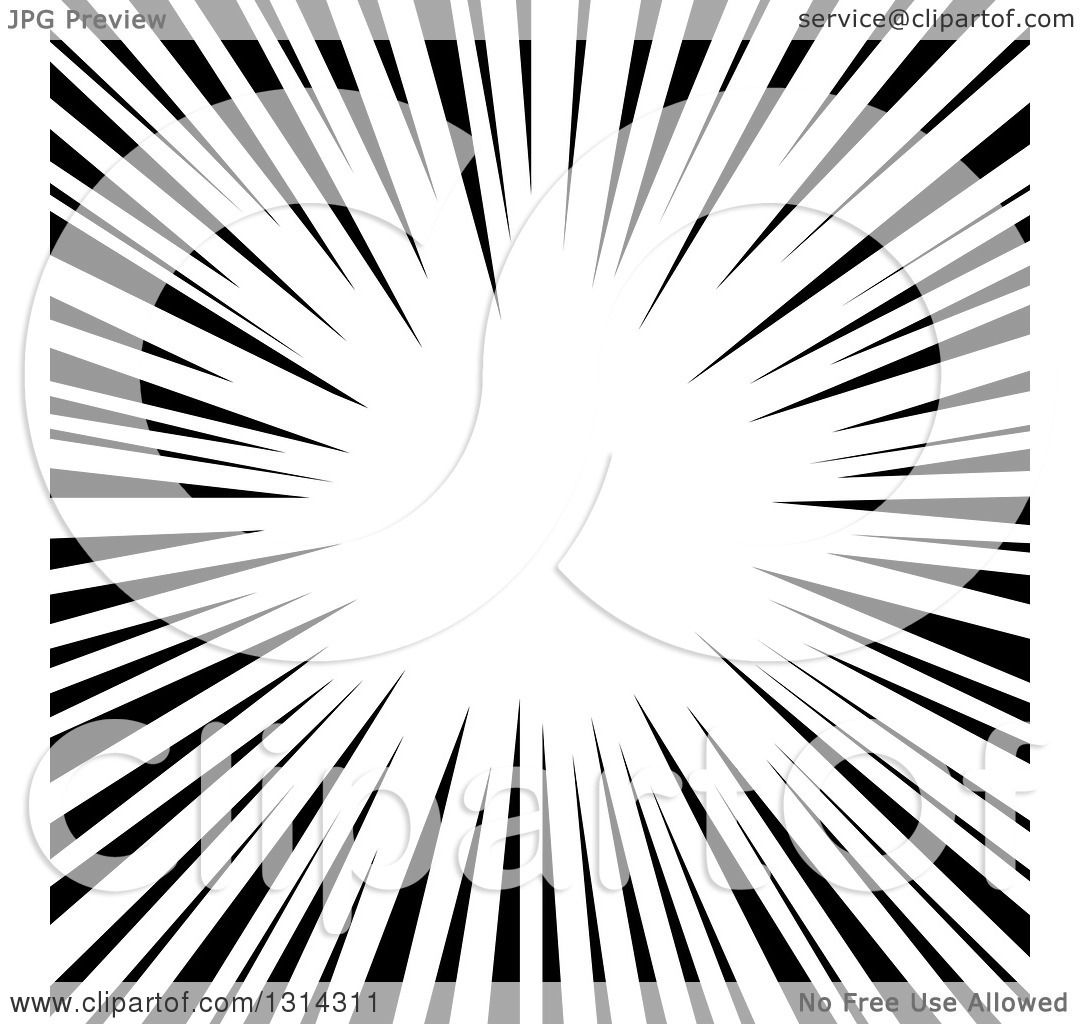 Clipart Of A Black And White Speed Vortex Or Explosion