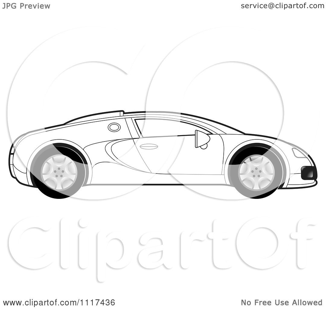 Clipart Of A Black And White Sports Car In Profile