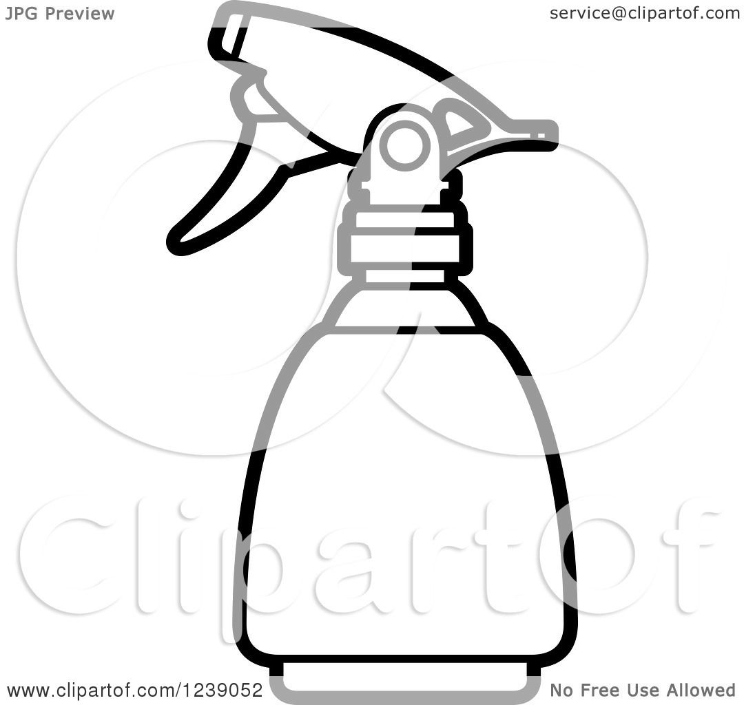 Clipart Of A Black And White Spray Bottle 2