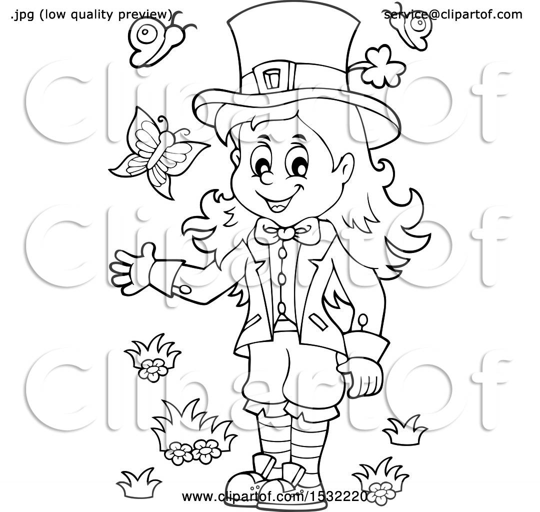 Clipart Of A Black And White St Patricks Day Female Leprechaun With Butterflies