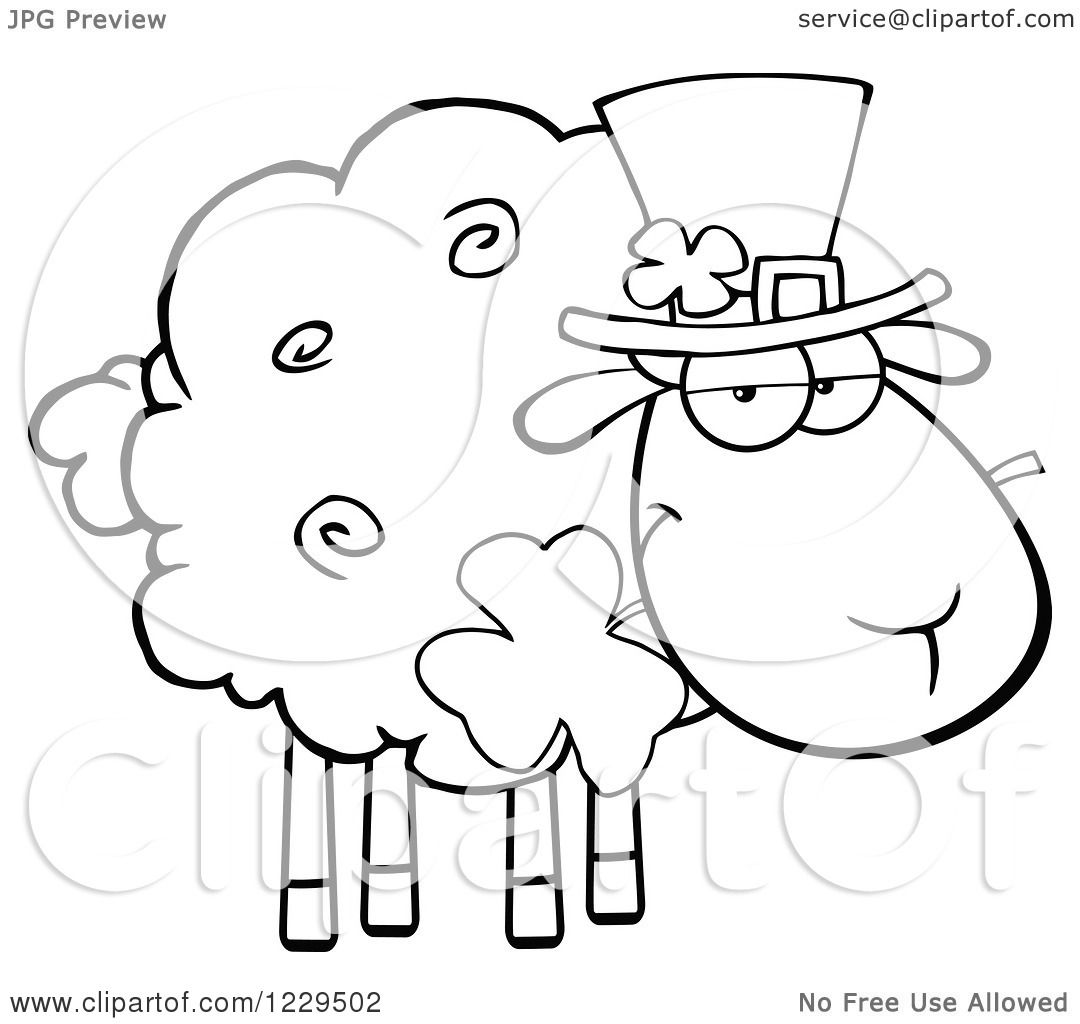 Clipart Of A Black And White St Patricks Day Sheep With A