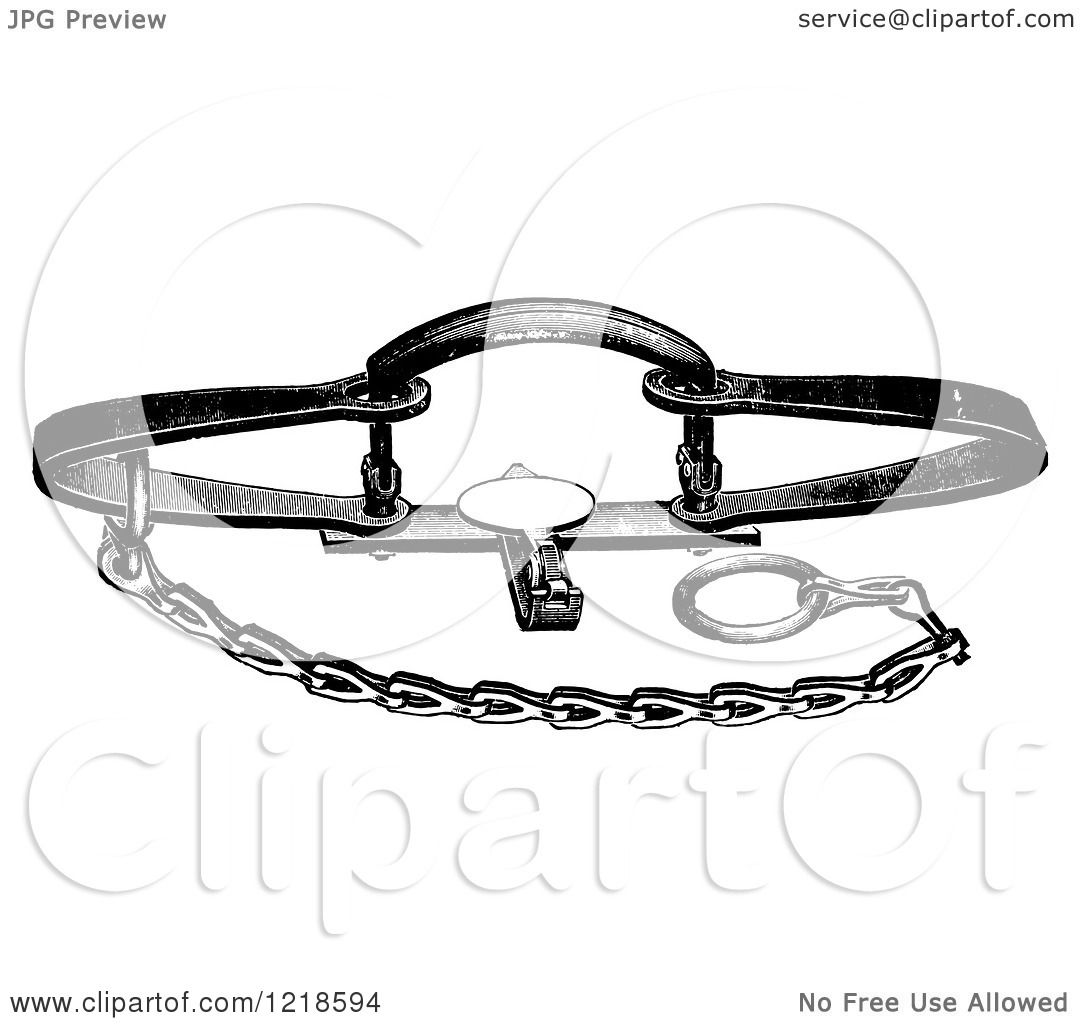 Clipart Of A Black And White Steel Animal Trap For Beaver