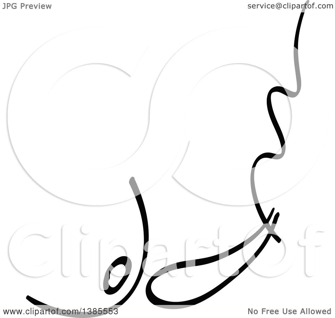 Clipart Of A Black And White Stick Man Rebounding While