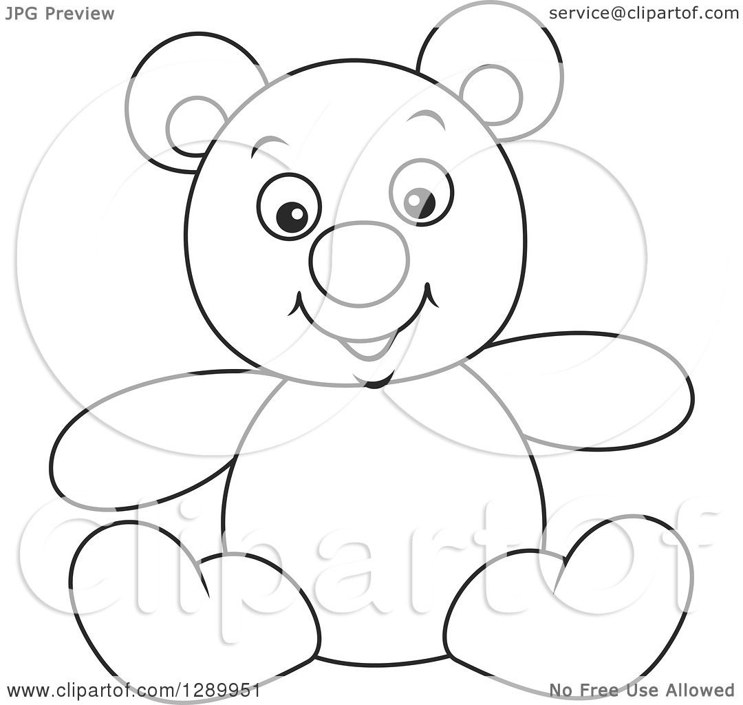 Clipart Of A Black And White Stuffed Teddy Bear Toy