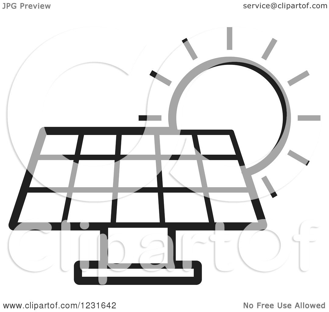 Clipart Of A Black And White Sun Over A Solar Panel Icon