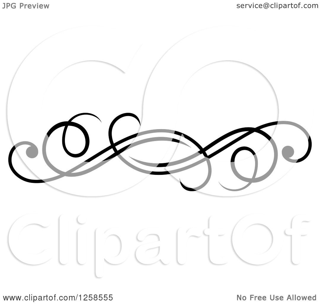 Clipart Of A Black And White Swirl Rule Divider Border Design Element