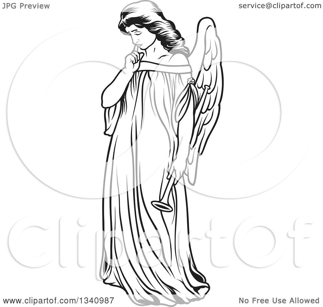 Clipart Of A Black And White Thinking Female Angel