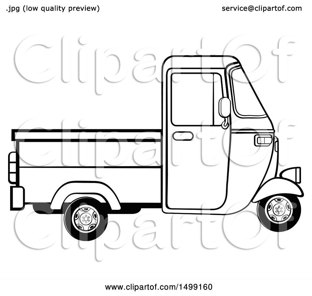 Clipart Of A Black And White Three Wheeler Rickshaw