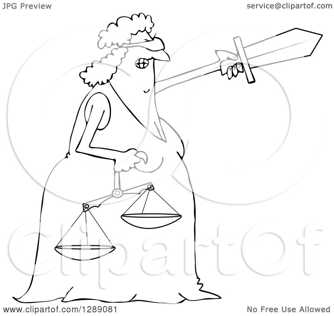 Clipart Of A Black And White Tough Blindfolded Lady