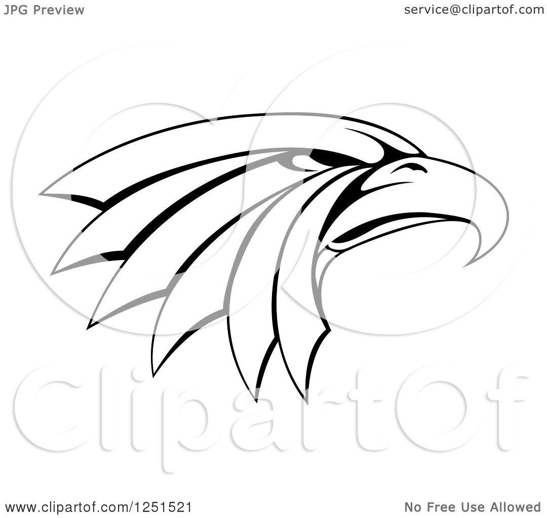 Clipart Of A Black And White Tough Eagle Head In Profile