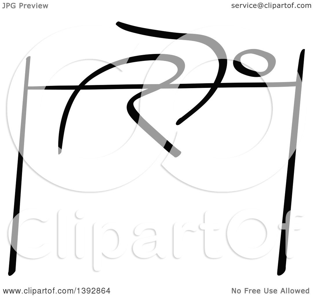 Clipart Of A Black And White Track And Field Stick Man