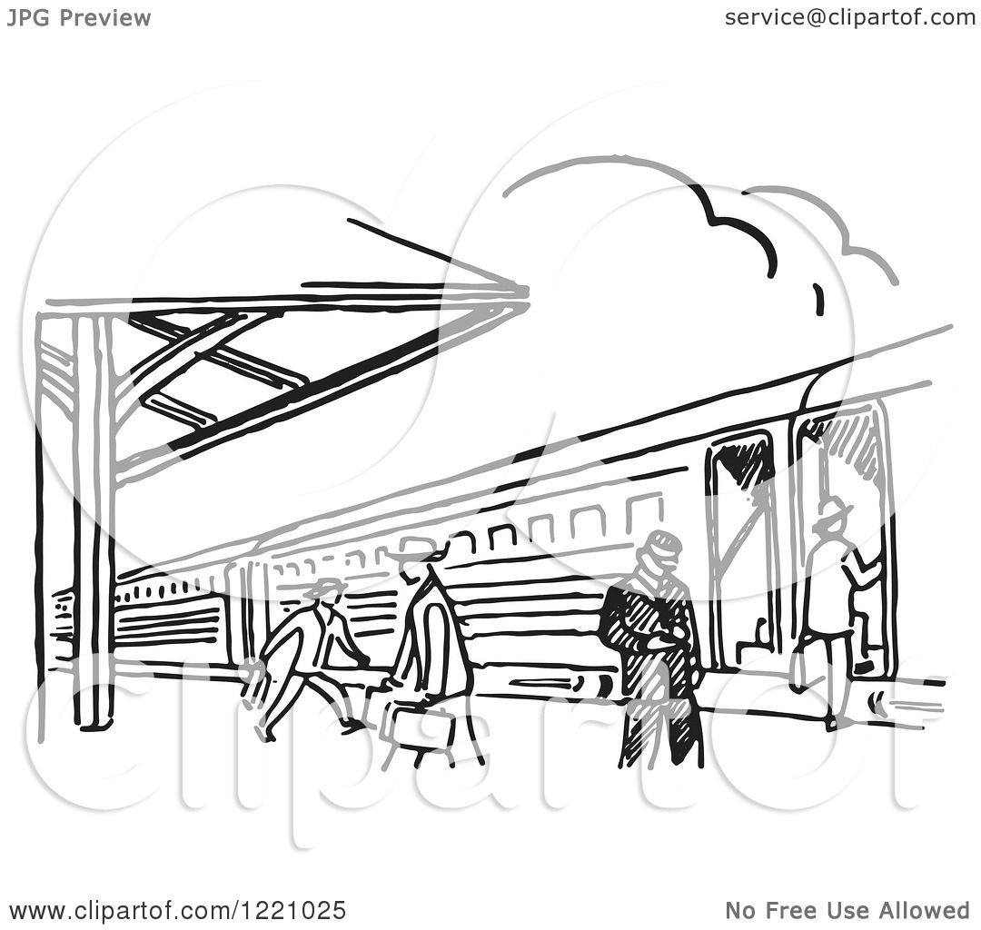 Clipart Of A Black And White Train Station