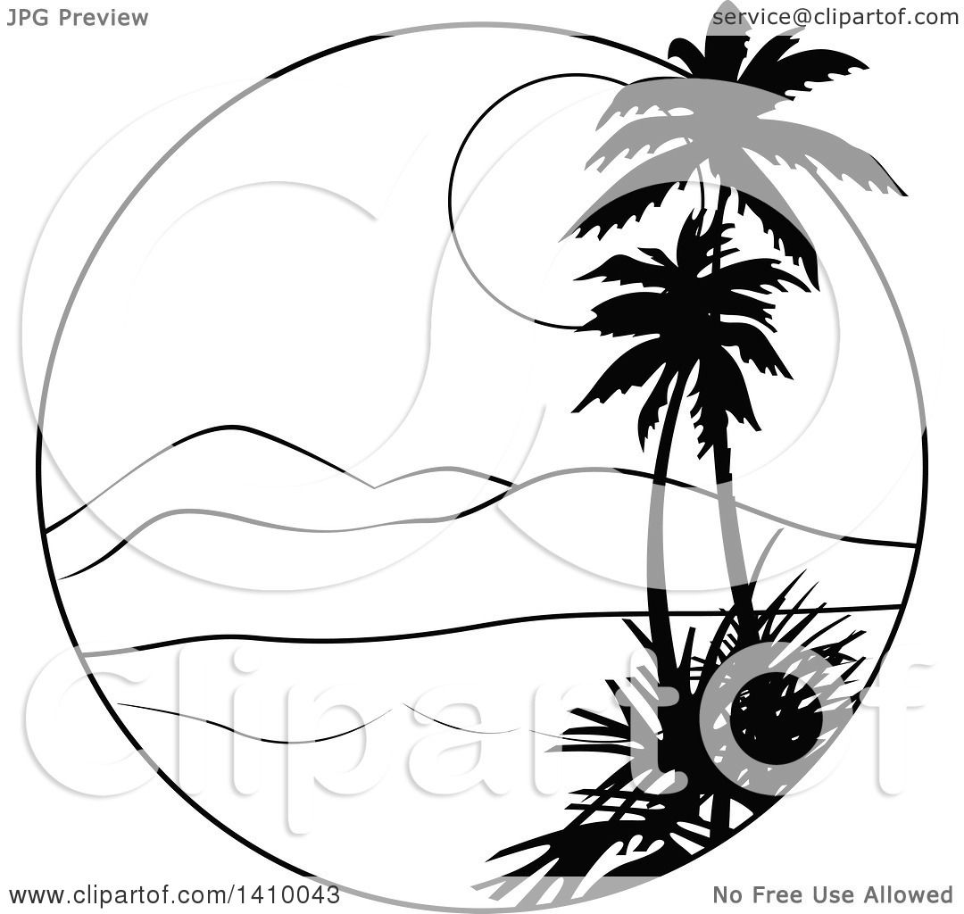 Clipart Of A Black And White Travel Design Of Palm Trees A Bay Mountains And Sunset