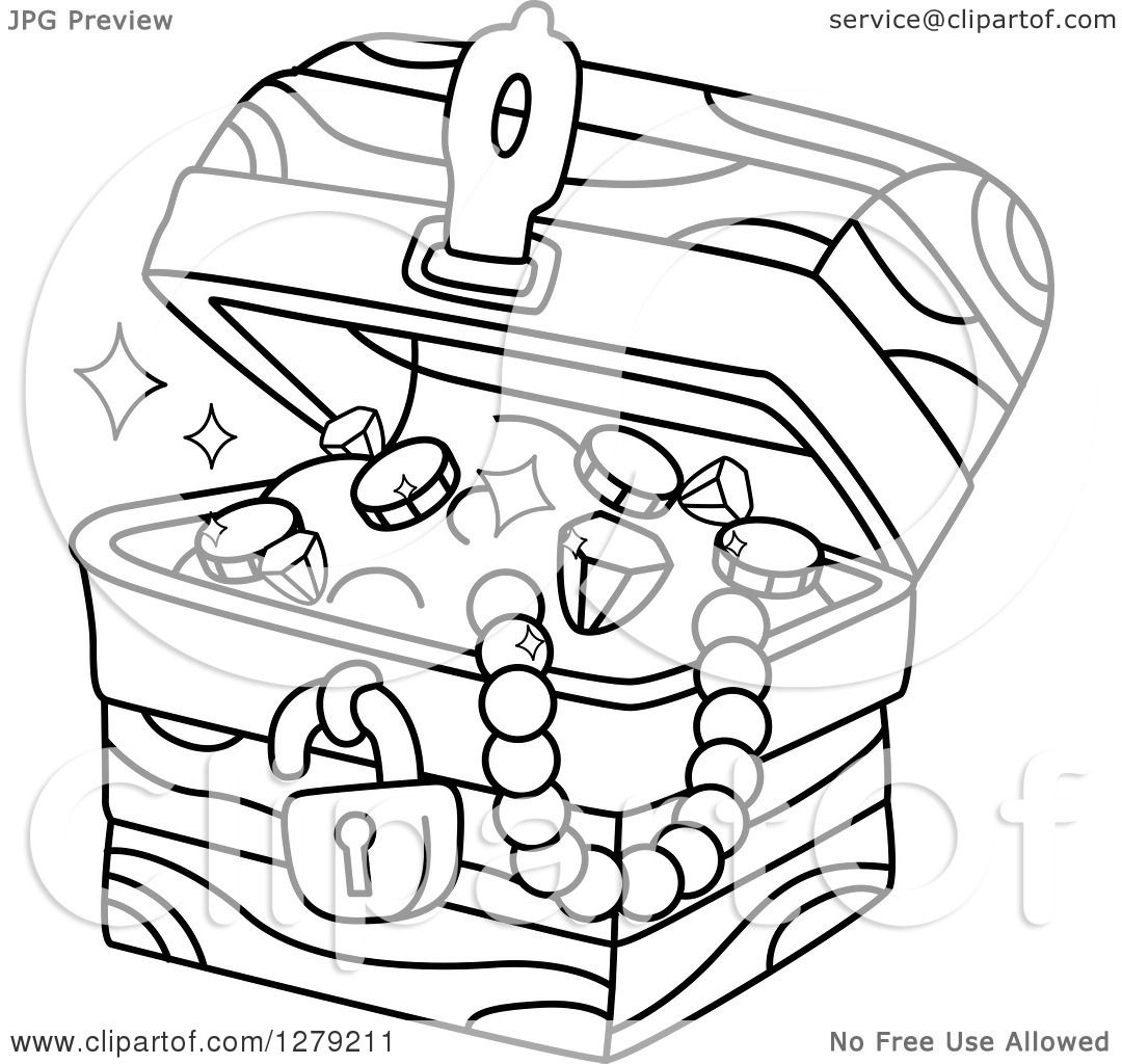 Clipart Of A Black And White Treasure Chest Full Of Jewels