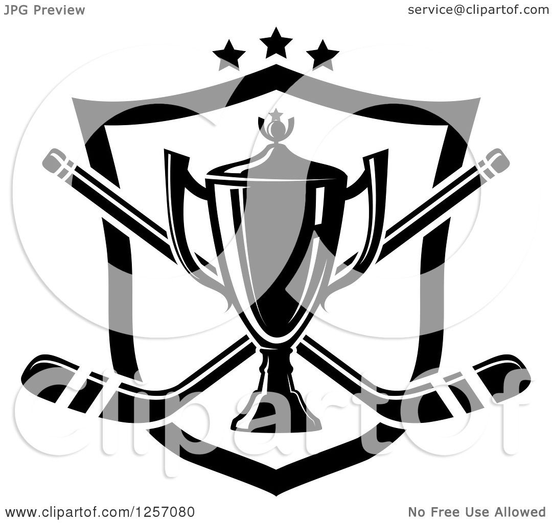 Clipart Of A Black And White Trophy Cup Over Crossed