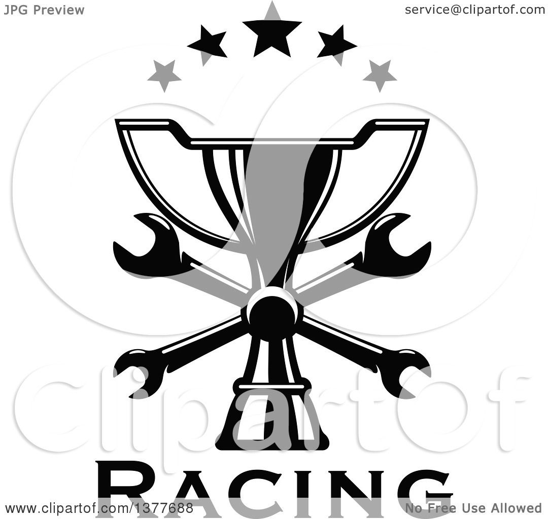 Clipart Of A Black And White Trophy With Crossed Wrenches