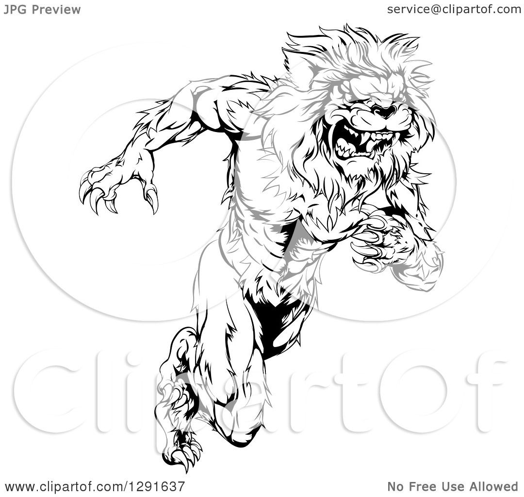 Clipart Of A Black And White Vicious Muscular Sprinting