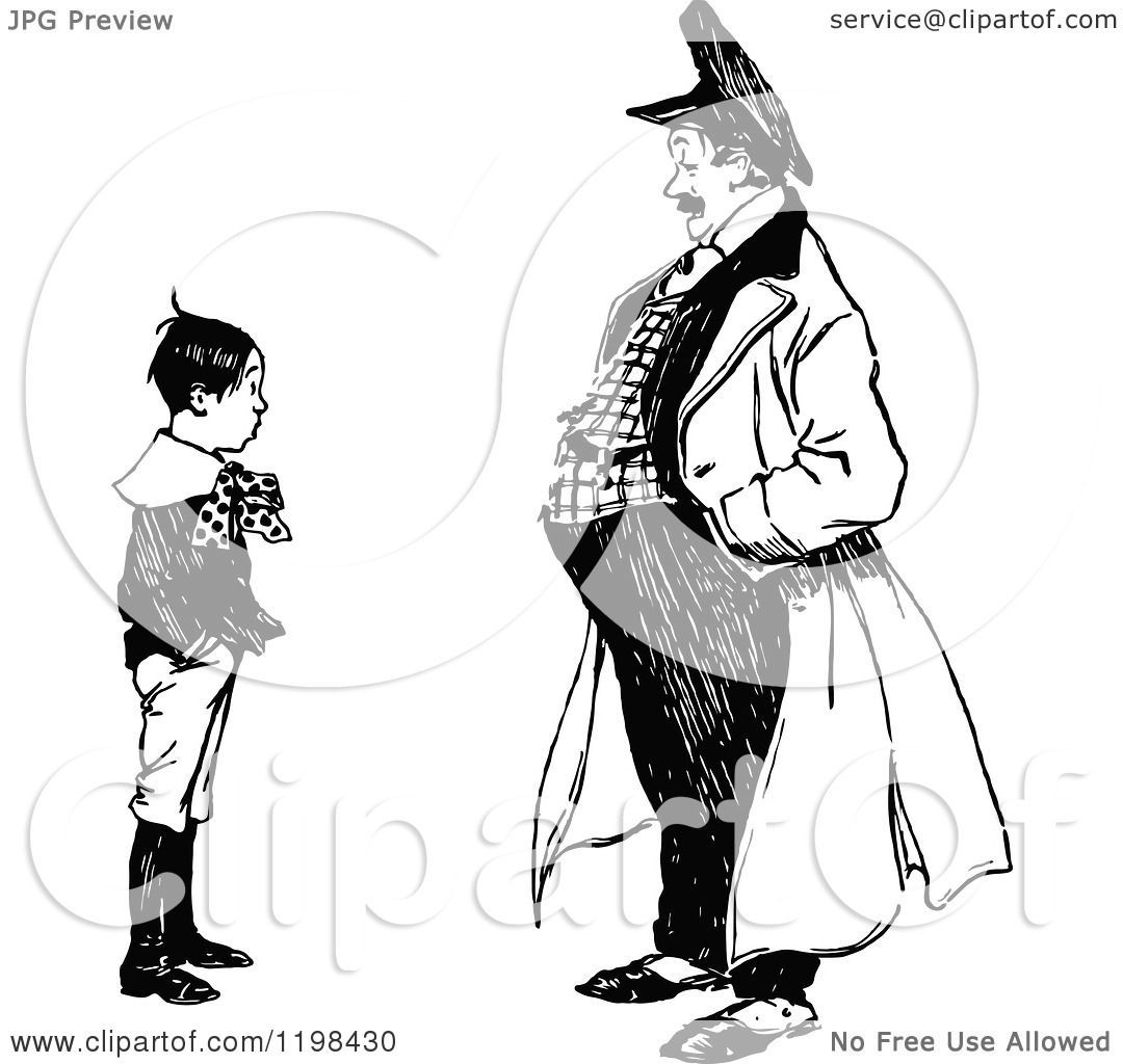 Clipart Of A Black And White Vintage Boy Talking To A Man