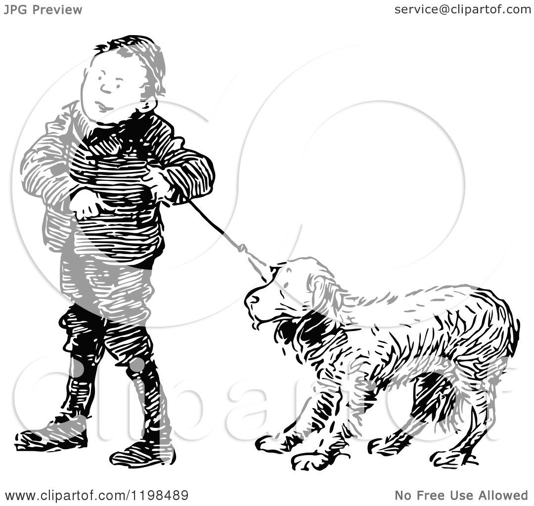 Clipart Of A Black And White Vintage Boy With A Stubborn