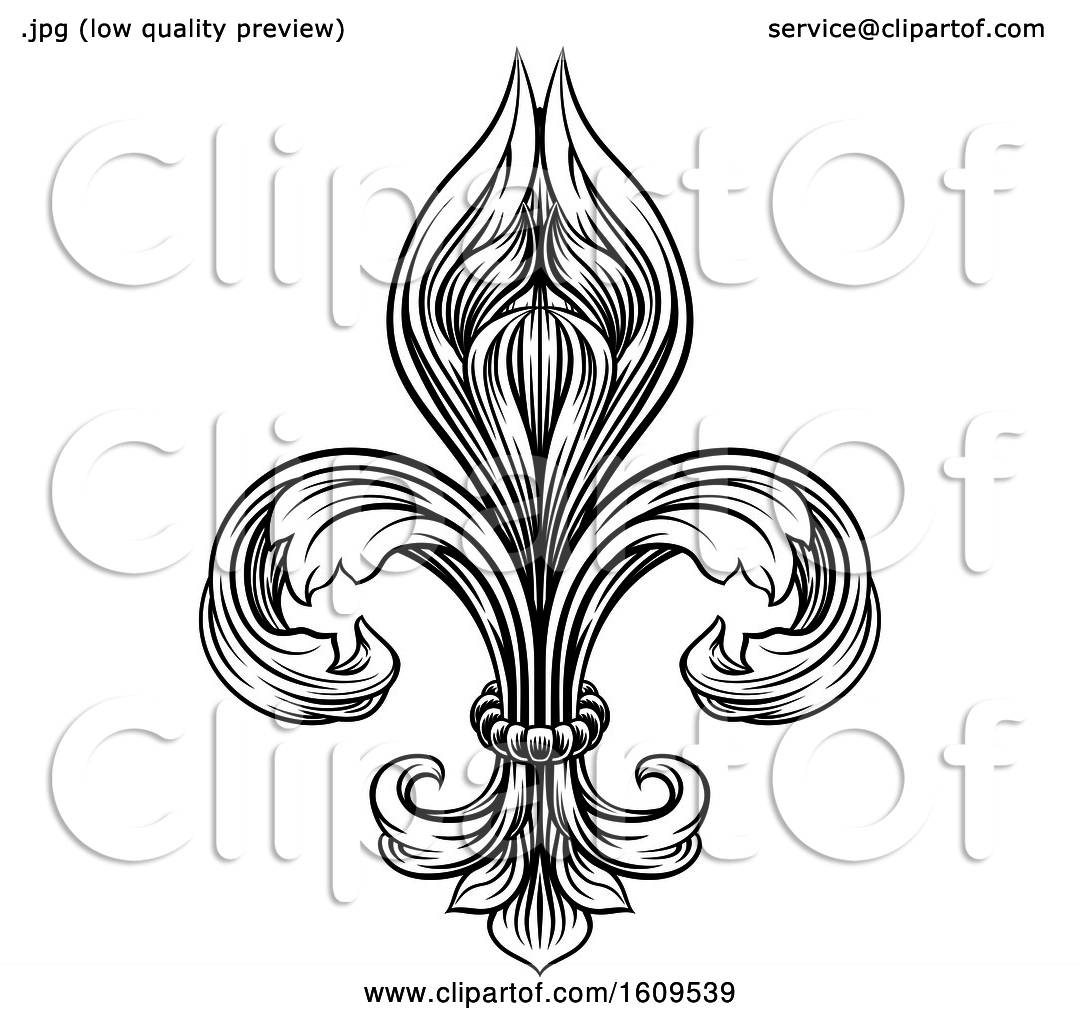 Clipart Of A Black And White Vintage Engraved Or Woodblock
