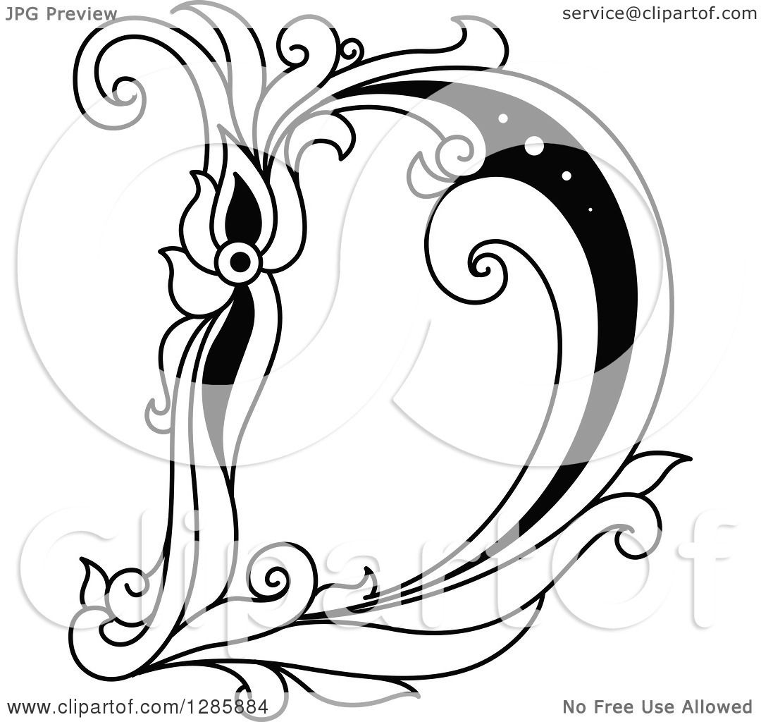 Clipart Of A Black And White Vintage Floral Capital Letter