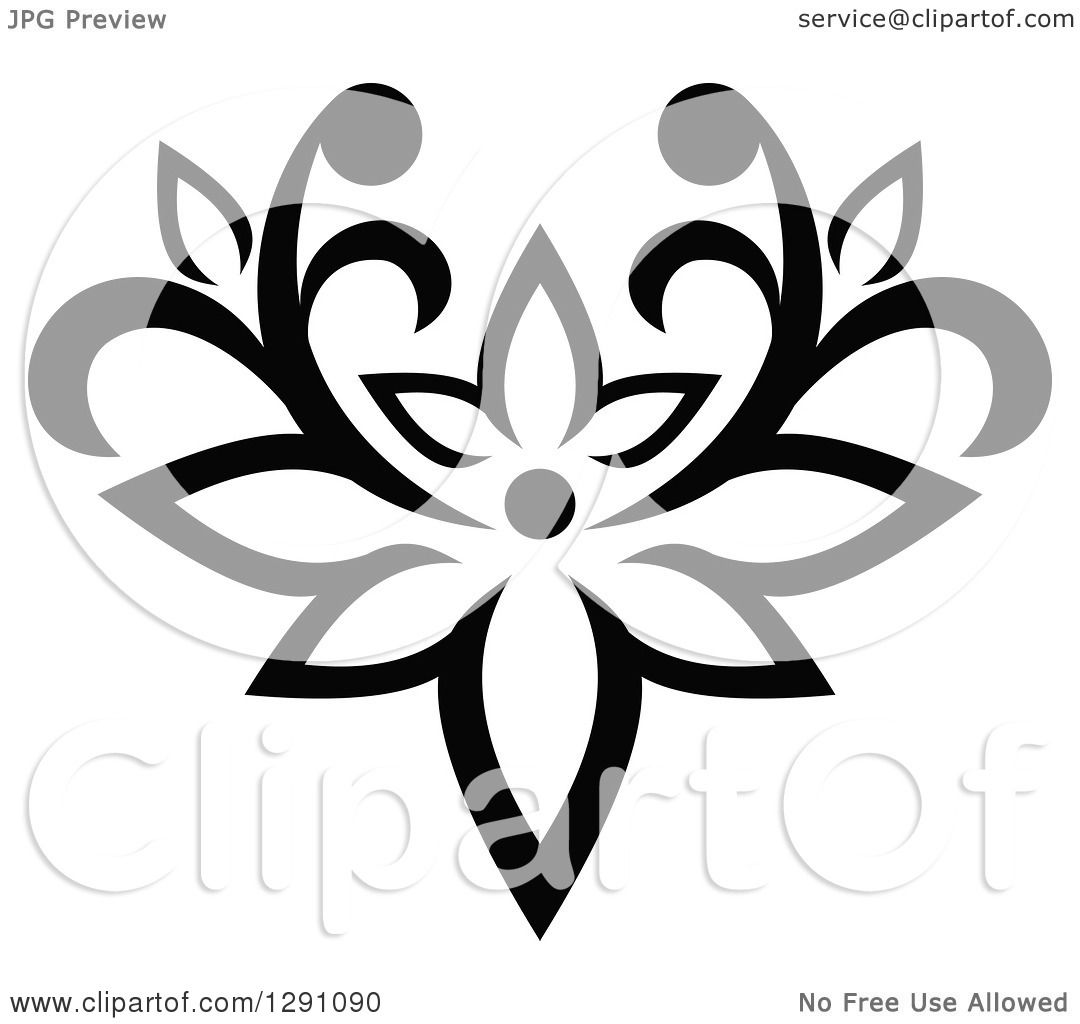 Clipart Of A Black And White Vintage Flower Design Element
