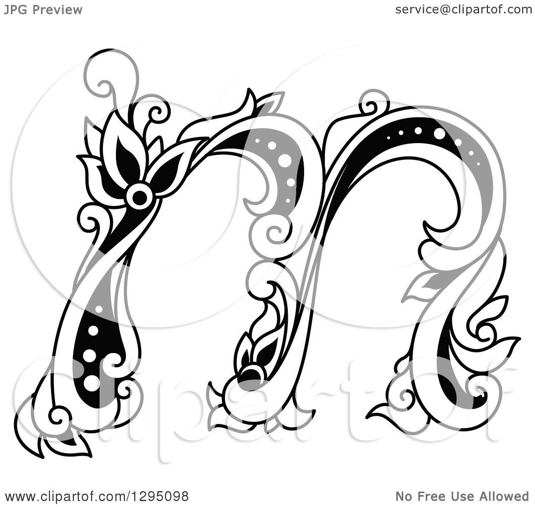 Clipart Of A Black And White Vintage Lowercase Floral
