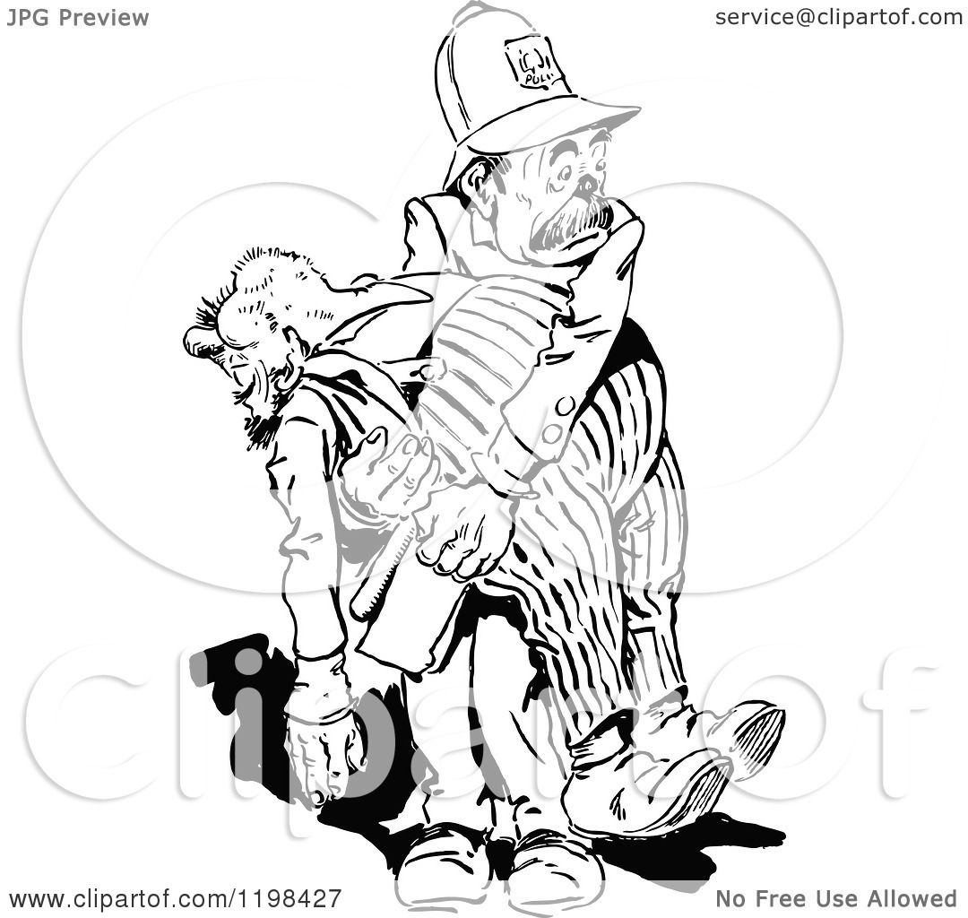 Clipart Of A Black And White Vintage Policeman Carrying A