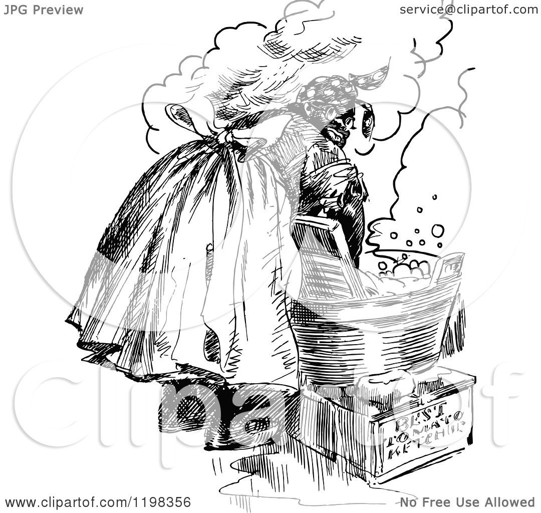 Clipart Of A Black And White Vintage Woman Washing Laundry