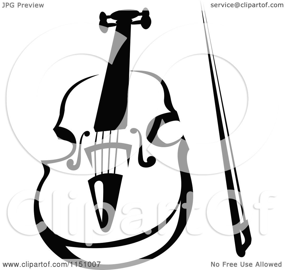 Clipart Of A Black And White Viola Or Fiddle Violin 4