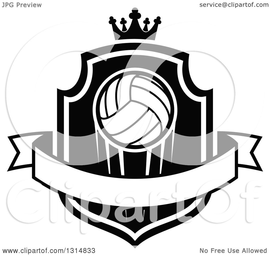 Clipart Of A Black And White Volleyball On A Shield With A