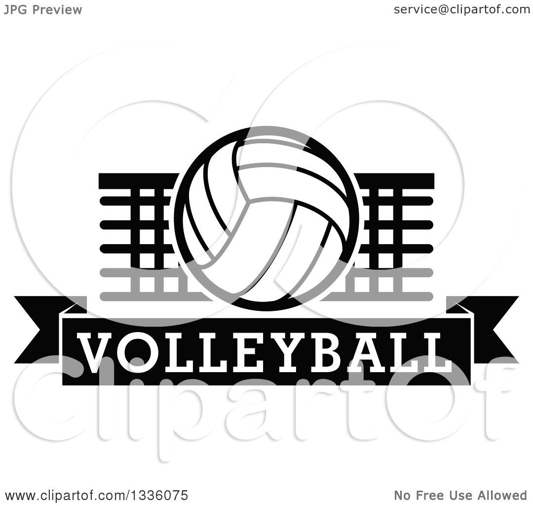 Clipart Of A Black And White Volleyball Over A Net And