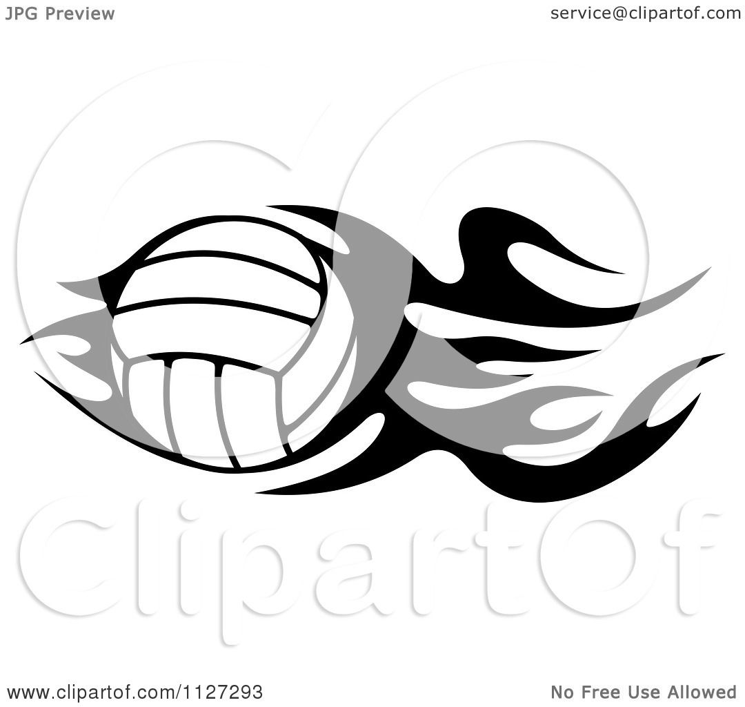 Clipart Of A Black And White Volleyball With Tribal Flames