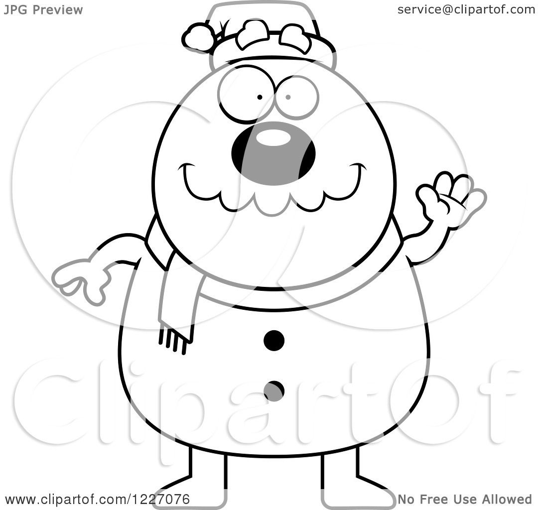 Clipart Of A Black And White Waving Christmas Snowman